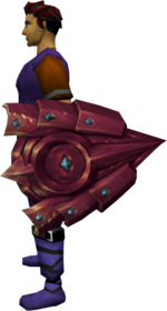 Orikalkum kiteshield + 1 equipped.png: Orikalkum kiteshield + 1 equipped by a player
