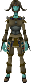 Hoardstalker outfit equipped (female).png: Hoardstalker boots (Sinkholes) equipped by a player