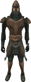 Stegoleather armour equipped (male).png: Stegoleather vambraces equipped by a player