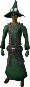 Runecrafter robes (green, goggles off) equipped (male).png: Runecrafter hat (The Great Orb Project, green) equipped by a player