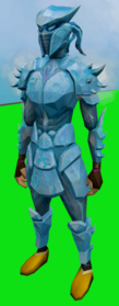 Sirenic armour set (ice) equipped.png: Sirenic hauberk (ice) equipped by a player