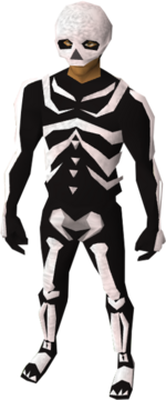 A male character wearing the skeleton outfit