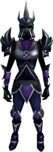 Torva armour equipped (female).png: Torva platebody equipped by a player