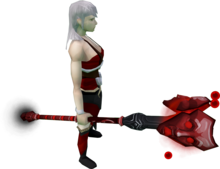 Augmented staff of Sliske (blood) equipped.png: Augmented staff of Sliske (blood) equipped by a player