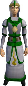 Guthix robe outfit equipped (female).png: Guthix stole equipped by a player