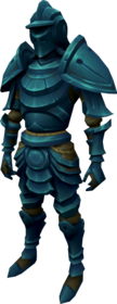 Elder rune armour + 2 equipped (male).png: Elder rune full helm + 2 equipped by a player