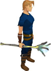 Blisterwood staff equipped.png: Blisterwood staff (Dominion Tower) equipped by a player