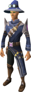 A player wearing Master runecrafter robes