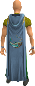Hooded fishing cape equipped.png: Hooded fishing cape (t) equipped by a player