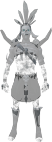 Ghostly spirit hunter outfit equipped.png: Ghostly spirit hunter greaves equipped by a player