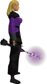 Seismic wand (shadow) equipped.png: Augmented seismic wand (shadow) equipped by a player