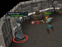A player dispelling a magical barrier