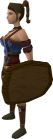 Wooden shield equipped.png: Wooden shield equipped by a player