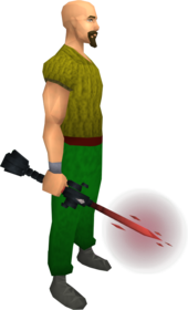 Seismic wand (blood) equipped.png: Augmented seismic wand (blood) equipped by a player