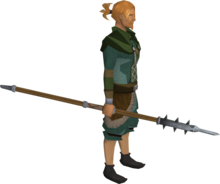 Steel hasta equipped.png: Steel hasta equipped by a player