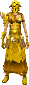 Golden warpriest of Bandos armour equipped (female).png: Golden warpriest of Bandos gauntlets equipped by a player