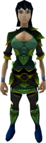 Green dragonhide armour (g) equipped (female).png: Green dragonhide body (g) equipped by a player