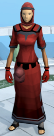 Unhallowed robe outfit equipped (female).png: Unhallowed hood equipped by a player