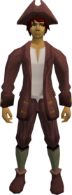 Audience costume (male, maroon) equipped.png: A stylish hat (male, maroon) equipped by a player