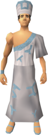 Villager outfit (blue) equipped (male).png: Villager robe (blue) equipped by a player