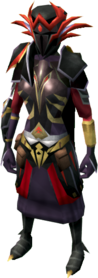 Warpriest of Zamorak armour equipped (female).png: Warpriest of Zamorak gauntlets equipped by a player