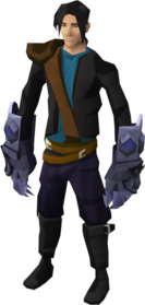 Mithril claws equipped.png: Mithril off hand claws equipped by a player