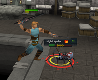 A player slaying a cave crawler