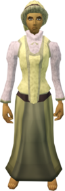 Audience costume (female, yellow) equipped.png: A stylish hat (female, yellow) equipped by a player