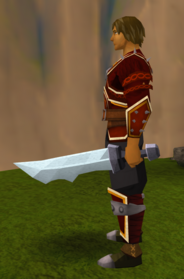 Off-hand steel ceremonial sword V equipped.png: Off-hand steel ceremonial sword V equipped by a player