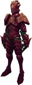 Orikalkum armour + 1 equipped (female).png: Orikalkum platebody + 1 equipped by a player