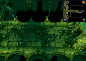 Scan clue Brimhaven Dungeon lower level west of entrance.png