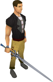 White longsword equipped.png: White longsword equipped by a player