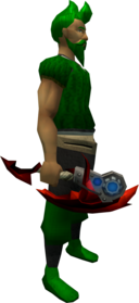 Augmented dragon hatchet equipped.png: Augmented dragon hatchet equipped by a player