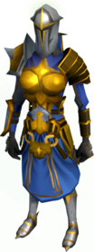 Warpriest of Saradomin armour equipped (female).png: Warpriest of Saradomin greaves equipped by a player