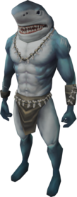 Shark outfit equipped (male).png: Shark hands equipped by a player