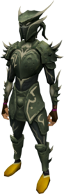 Elite sirenic armour set (barrows) equipped.png: Augmented elite sirenic hauberk (barrows) equipped by a player