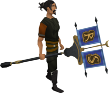 Clan vexillum equipped.png: Clan vexillum equipped by a player