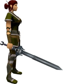Wilderness sword 2 equipped.png: Wilderness sword 2 equipped by a player