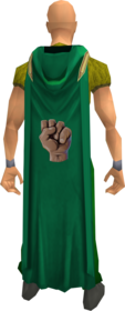 Hooded strength cape equipped.png: Hooded strength cape equipped by a player