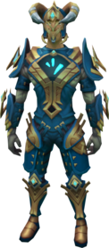 frozen gorajan trailblazer outfit equipped.png: Frozen gorajan trailblazer head equipped by a player