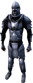 Steel armour (heavy) equipped (male).png: Steel full helm equipped by a player