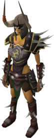 Bandos armour equipped (female).png: Bandos gloves equipped by a player