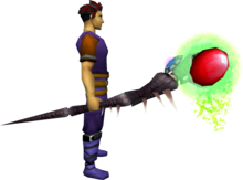 Augmented noxious staff equipped.png: Augmented noxious staff equipped by a player