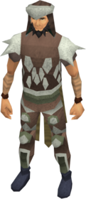Leather armour (class 3) equipped.png: Coif (class 3) equipped by a player