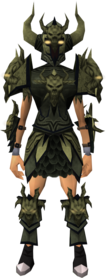 Malevolent armour (barrows) equipped (female).png: Malevolent greaves (barrows) equipped by a player