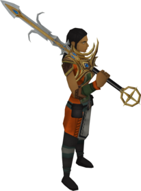 Saradomin_godsword_equipped.png: Saradomin godsword equipped by a player
