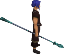 Leaf-bladed spear equipped.png: Leaf-bladed spear equipped by a player