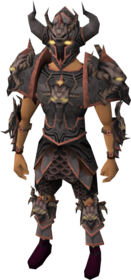 Malevolent armour equipped (male).png: Malevolent greaves equipped by a player