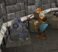A player mining some ore