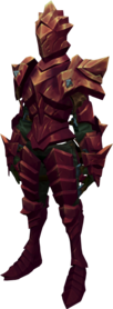 Orikalkum armour + 3 equipped (female).png: Orikalkum platebody + 3 equipped by a player